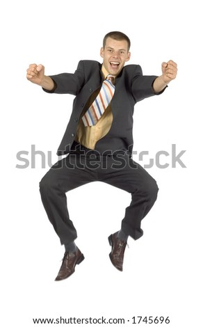 isolated happy jumping  businessman