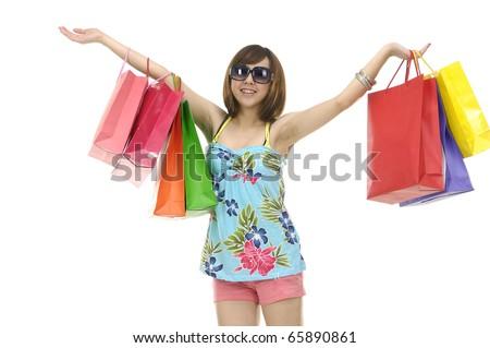 Isolated happy shopping student - stock photo