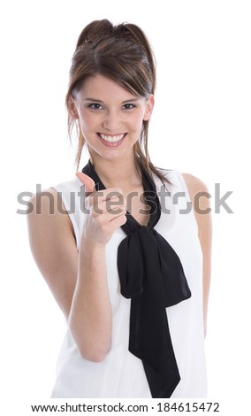 Isolated happy trainee with thumb up on white background.  - stock photo
