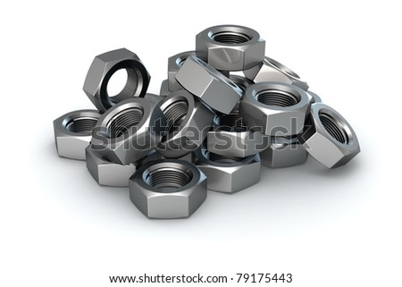 Isolated heap of metal nuts - stock photo