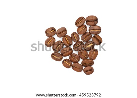 Isolated heart of the coffee grain on a white background