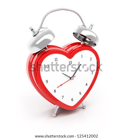 Isolated heart shaped alarm clock on white background - stock photo