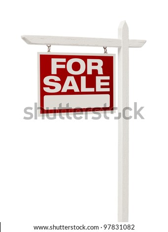 Isolated Home For Sale Real Estate Sign with Clipping Path. - stock photo