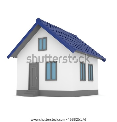 Isolated home with blue roof on white. 3D rendering.