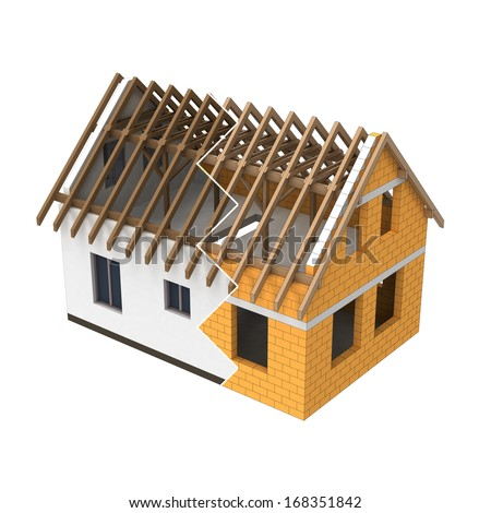 isolated house structural design zigzag transition illustration - stock photo