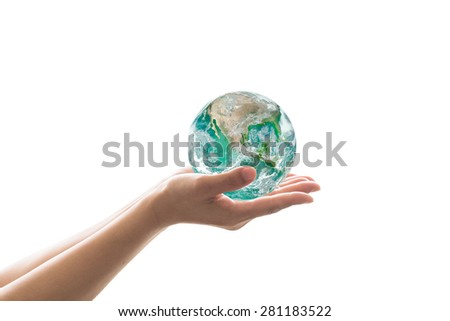 Isolated human hands holding green planet on white background : Save the earth, save environment concept: Elements of this image furnished by NASA  - stock photo
