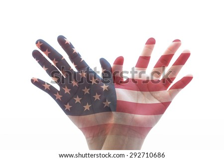 Isolated human hands in eagle bird form with double exposure of the United States of America flag pattern on white background: USA Independence day and flag day concept   - stock photo