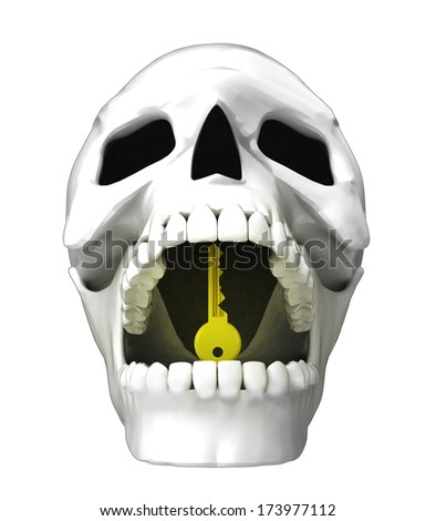 isolated human skull head with golden key in jaws illustration