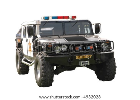 Isolated Hummer Police Car - stock photo