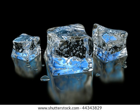 isolated ice cubes on white background - stock photo
