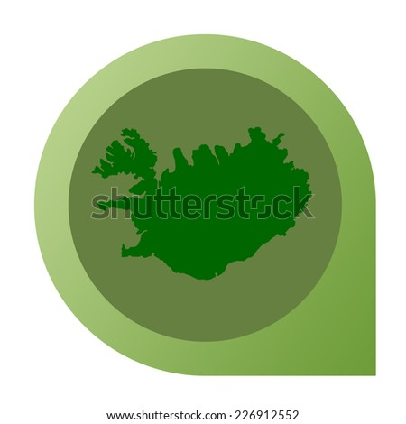 Isolated Iceland map marker pin in flat web design style.