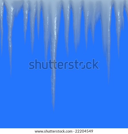 Isolated icicles hanging over a blue background - tiles seamlessly as a pattern - stock photo