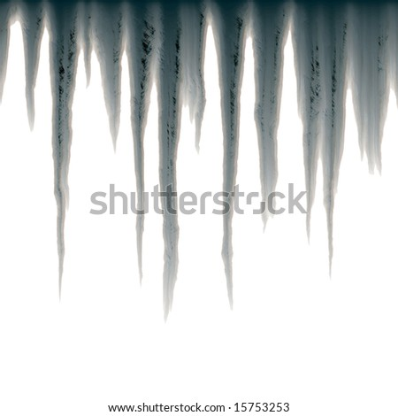 isolated icicles hanging over white