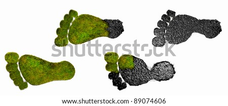 Isolated illustration depicting Eco green grass footprints from oily ones.  Demonstrating humans changing footprint on our natural environment.