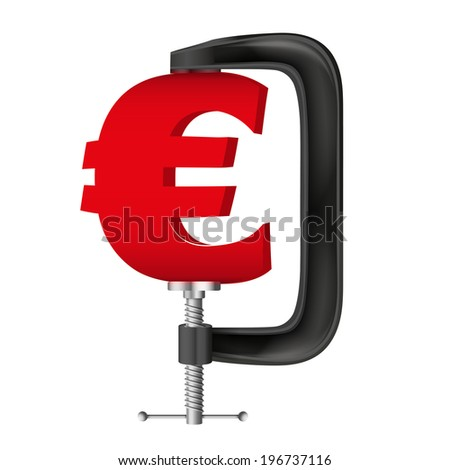 Isolated illustration of a currency symbol euro being squeezed in a vice. - stock photo