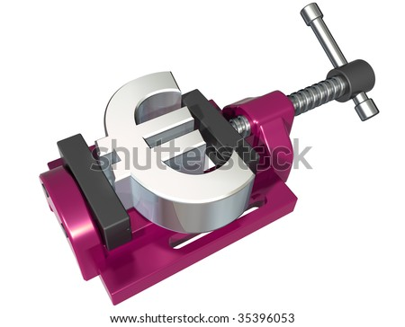 Isolated illustration of a euro symbol being squeezed in a vice - stock photo