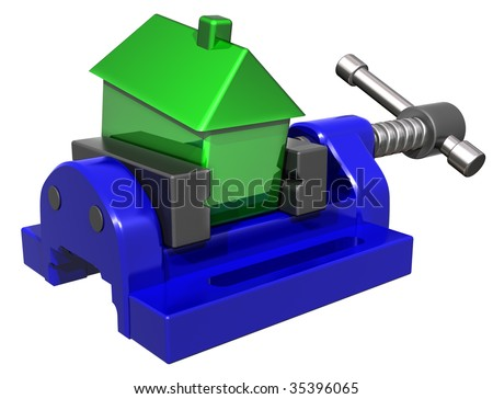 Isolated illustration of a house being squeezed in a vice - stock photo