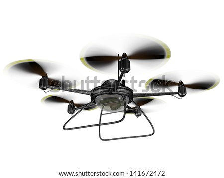 Isolated illustration of a hovering spy drone - stock photo