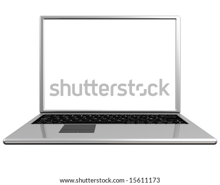 Isolated illustration of a laptop with a useful blank screen