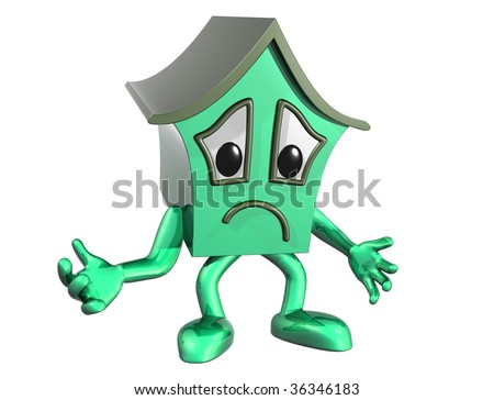 Isolated illustration of a very unhappy cartoon house - stock photo