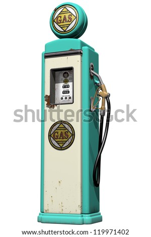 Isolated illustration of a weathered vintage gas pump - stock photo
