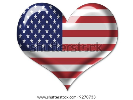 isolated illustration of american flag in heart