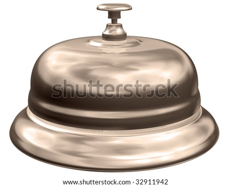 Isolated illustration of an old fashioned hotel table bell - stock photo