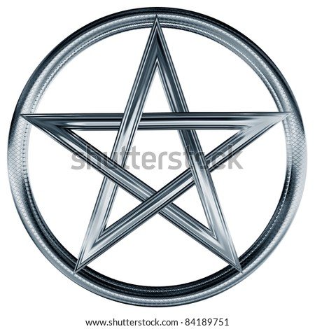 Isolated illustration of an ornate silver pentagram - stock photo