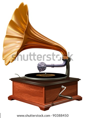 Isolated illustration of antique windup gramophone
