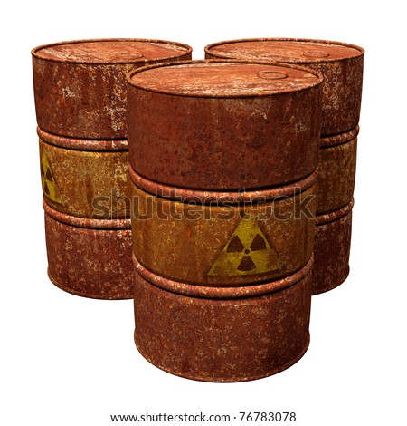 Isolated illustration of three hazardous waste drums - stock photo