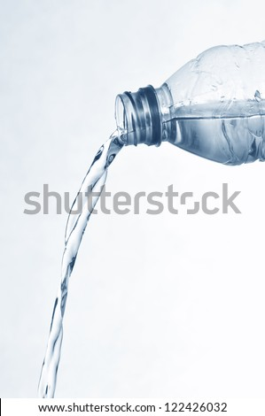 Isolated image, bottled water flow