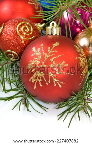 Isolated image of a beautiful Christmas balls on a white background closeup - stock photo