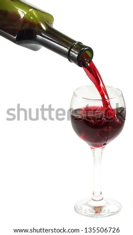 Isolated image of a bottle with wine and a wineglass on a white