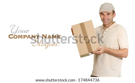 Isolated image of a  cheerful messenger holding a cardboard box   - stock photo