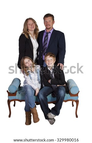 Isolated image of a cute family posing - white background - stock photo