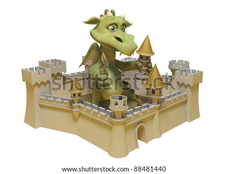 Isolated image of a dragon sitting in an old castle - stock photo