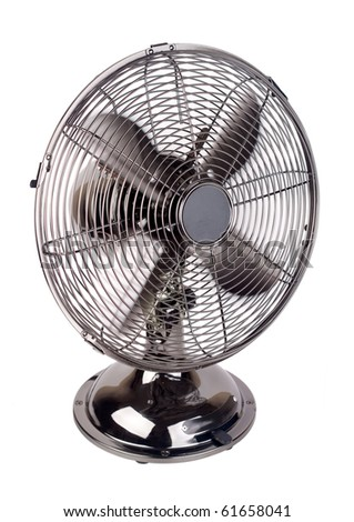 Isolated image of a fan working against a white background - stock photo