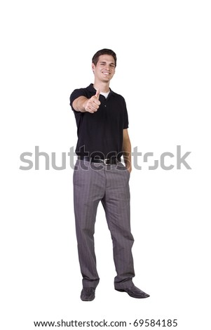 Isolated Image of a Handsome Businessman Giving Thumbs Up - White Background - stock photo