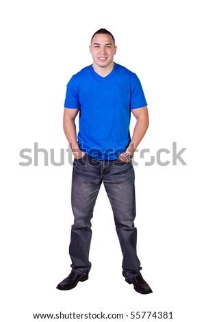 Isolated Image of a Handsome Hispanic Man - White Background - stock photo