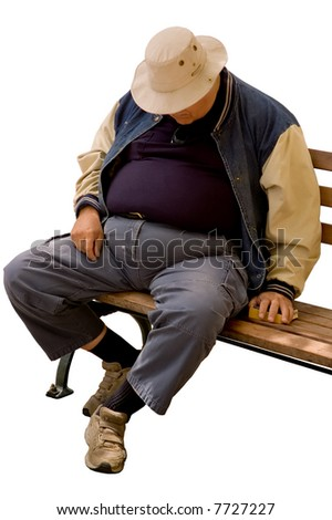 Isolated image of a heavy older gentleman who has fallen asleep on a city bench. - stock photo