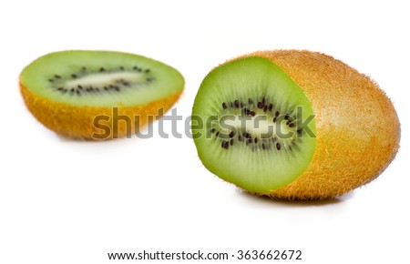 Isolated image of a kiwi on a white background close-up