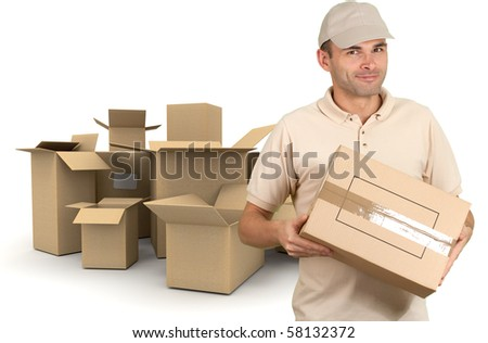 Isolated image of a messenger delivering a package with a lot of boxes on the background - stock photo