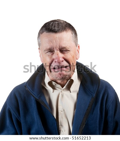 Isolated image of a middle aged man sneezing into the camera - stock photo