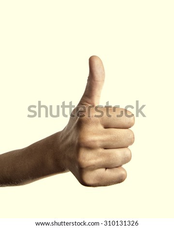 Isolated image of a raised finger closeup