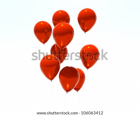 Isolated image of a red balloon over white - stock photo