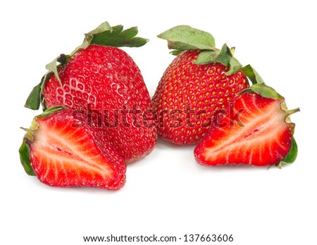 Isolated image of a strawberry on a white background - stock photo