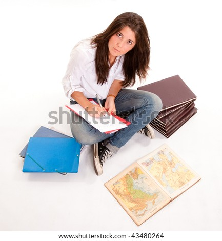 Isolated image of a teenage girl preparing an exam - stock photo