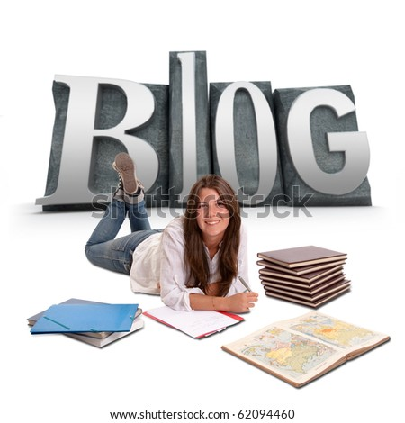 Isolated image of a Young girl studying lying on the floor with BLOG written on the background - stock photo
