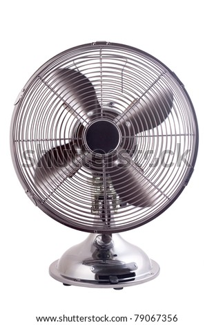 Isolated image of an elegant designed fan working against a white background - stock photo