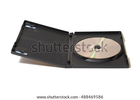 Isolated image of an opened DVD case and disk revealed inside.